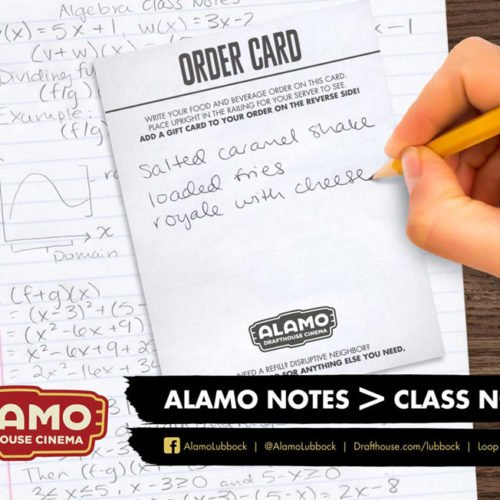 Alamo Drafthouse Cinema notes poster